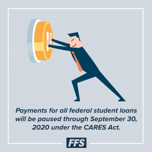 Payments for all federal student loans will be paused until Sept. 30, 2020.
