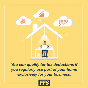You qualify for tax deductions if you regularly use part of your home exclusively for your business.